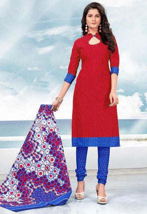 Printed Cotton Straight Suit in Fuchsia