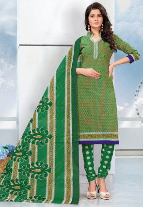 Printed Cotton Straight Suit in Green and Light Brown