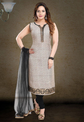 Printed Cotton Straight Suit in Light Beige