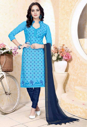 Printed Cotton Straight Suit in Light Blue