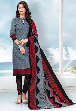 Printed Cotton Straight Suit in Light Grey