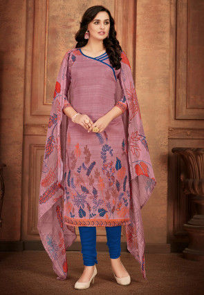 Printed Cotton Straight Suit in Light Old Rose