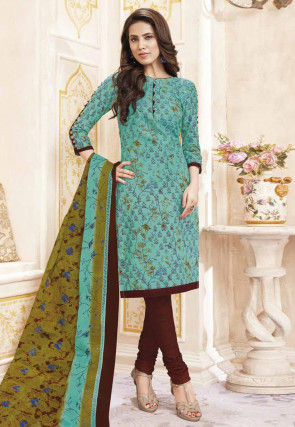 Printed Cotton Straight Suit in Light Teal Green