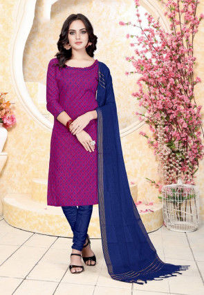 Printed Cotton Straight Suit in Magenta