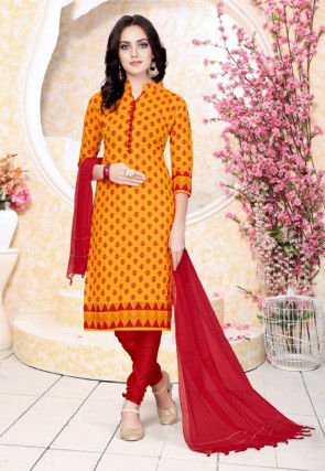 Printed Cotton Straight Suit in Mustard