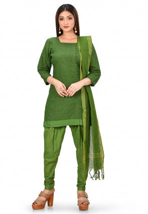 Printed Cotton Straight Suit in Olive Green