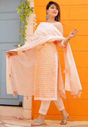 Printed Cotton Straight Suit in Orange and Off White