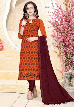 Printed Cotton Straight Suit in Orange
