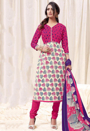 Printed Cotton Straight Suit in Pink and Off White