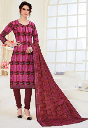 Printed Cotton Straight Suit in Pink