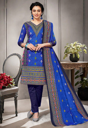Printed Cotton Straight Suit in Royal Blue and Multicolor
