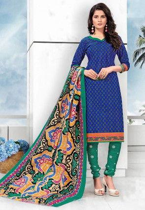 Printed Cotton Straight Suit in Royal Blue