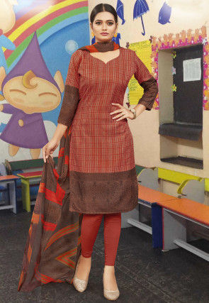 Printed Cotton Straight Suit in Rust