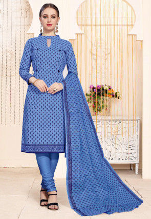 Printed Cotton Straight Suit in Sky Blue