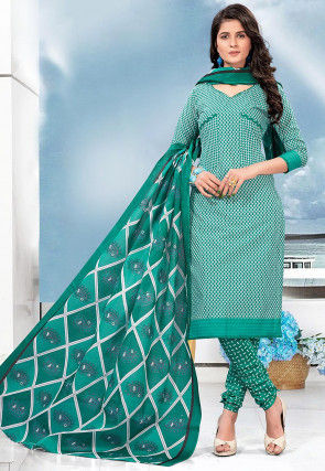 Printed Cotton Straight Suit in Teal Green and Off White