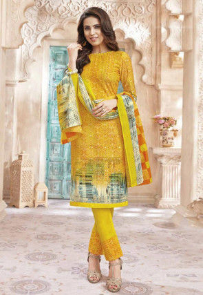 Printed Cotton Straight Suit in Yellow