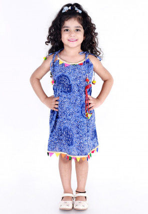 Printed Cotton Strappy Frock in Indigo Blue