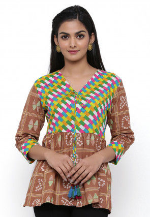 Printed Cotton Top in Beige and Multicolor