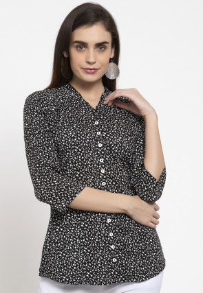 Printed Cotton Top in Black
