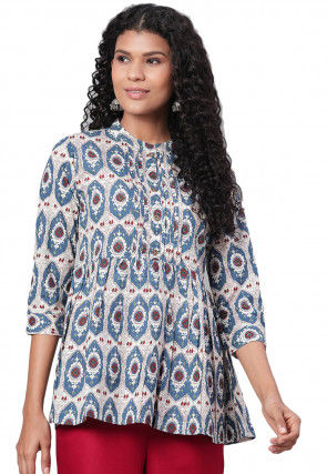 Printed Cotton Top in Blue and Off White