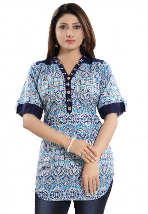 Printed Cotton Top in Blue