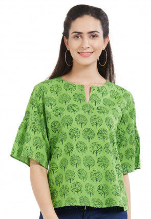 Printed Cotton Top in Green
