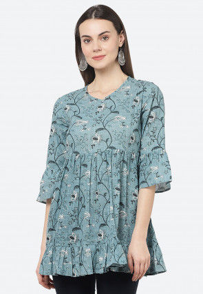 Printed Cotton Top in Light Blue