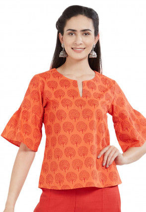 Printed Cotton Top in Orange