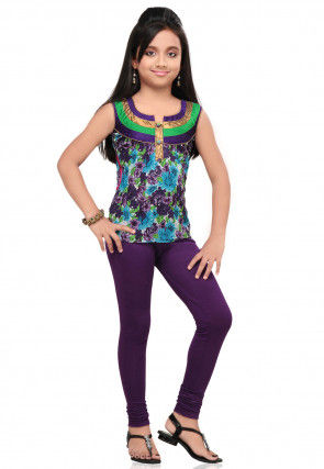 Printed Cotton Top in Purple