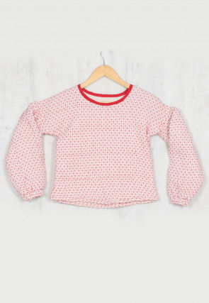 Printed Cotton Kids Top in White and Red