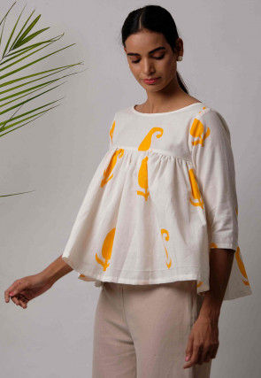 Printed Cotton Top in White