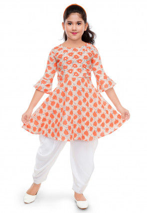 Printed Cotton Top N Bottom Set in Light Peach and Off White