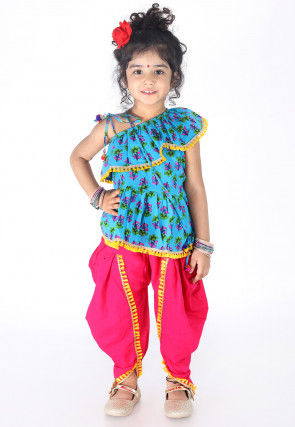 Printed Cotton Top N Dhoti Pant in Blue and Fuchsia