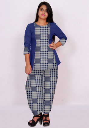 Printed Cotton Top Set in Navy Blue