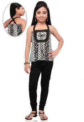 Printed Cotton Top with Leggings in Black and White