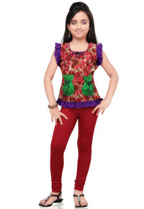Printed Cotton Top with Leggings in Red and Brown