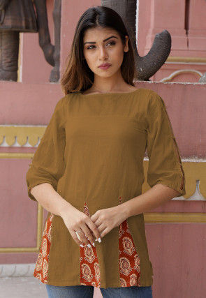 Printed Cotton Tunic in Brown