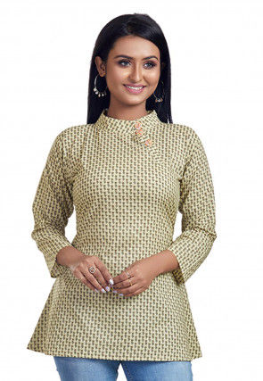 Printed Cotton Tunic in Light Beige