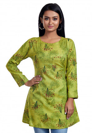 Printed Cotton Tunic in Light Green
