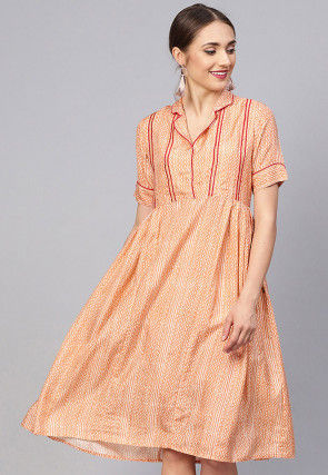 Printed Cotton Tunic in Light Orange