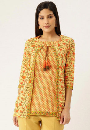 Printed Cotton Tunic in Light Yellow