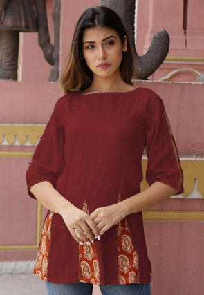 Printed Cotton Tunic in Maroon