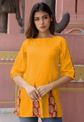 Printed Cotton Tunic in Mustard