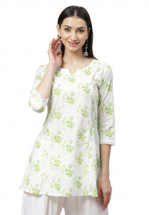Printed Cotton Tunic in Off White