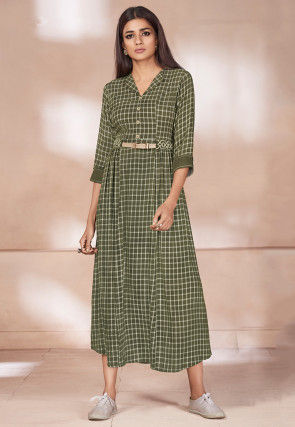 Printed Cotton Tunic in Olive Green