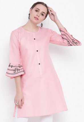 Printed Cotton Tunic in Pink