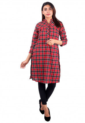 Printed Cotton Tunic in Red