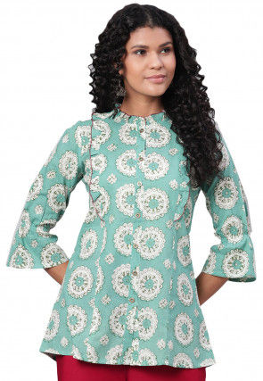 Printed Cotton Tunic in Turquoise