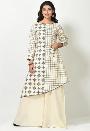 Printed Cotton Tunic with Palazzo in Off White