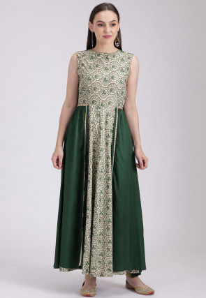 Printed Cotton Viscose Flared Long Kurta in Off White and Dark Green
